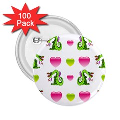 Dragons And Hearts 2 25  Buttons (100 Pack)  by IIPhotographyAndDesigns
