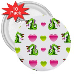 Dragons And Hearts 3  Buttons (10 Pack)  by IIPhotographyAndDesigns