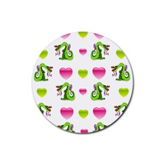 Dragons And Hearts Rubber Coaster (round)  by IIPhotographyAndDesigns