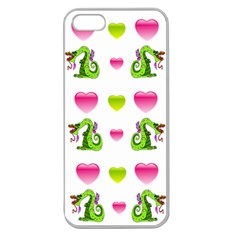 Dragons And Hearts Apple Seamless Iphone 5 Case (clear) by IIPhotographyAndDesigns