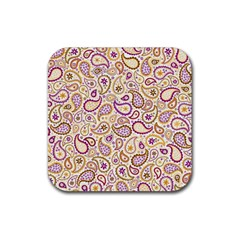 Damascus Image Purple Background Rubber Square Coaster (4 Pack)  by flipstylezdes