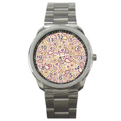 Damascus Image Purple Background Sport Metal Watch