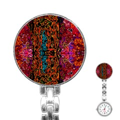Retro Multi Colors Pattern Created By Flipstylez Designs Stainless Steel Nurses Watch