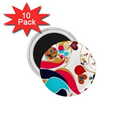 Retro Colorful Colors Splashes 1 75  Magnets (10 Pack)
