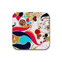Retro Colorful Colors Splashes Rubber Square Coaster (4 Pack)  by flipstylezdes