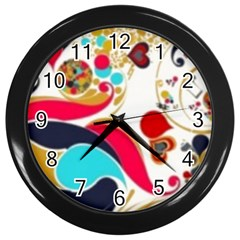 Retro Colorful Colors Splashes Wall Clock (black) by flipstylezdes