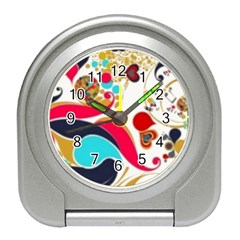 Retro Colorful Colors Splashes Travel Alarm Clock by flipstylezdes