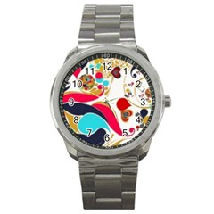 Retro Colorful Colors Splashes Sport Metal Watch by flipstylezdes