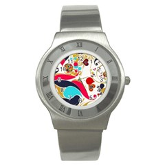 Retro Colorful Colors Splashes Stainless Steel Watch by flipstylezdes