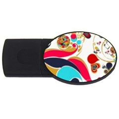 Retro Colorful Colors Splashes Usb Flash Drive Oval (4 Gb) by flipstylezdes