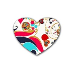 Retro Colorful Colors Splashes Heart Coaster (4 Pack)  by flipstylezdes