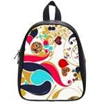 Retro colorful colors Splashes School Bag (Small) Front