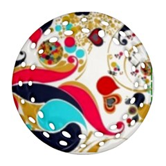 Retro Colorful Colors Splashes Ornament (round Filigree) by flipstylezdes