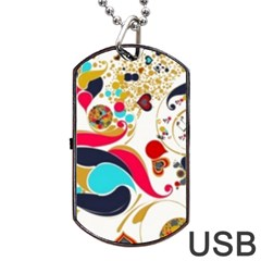 Retro Colorful Colors Splashes Dog Tag Usb Flash (one Side) by flipstylezdes