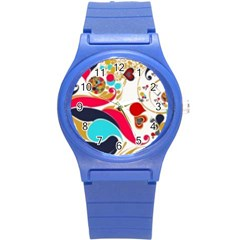 Retro Colorful Colors Splashes Round Plastic Sport Watch (s) by flipstylezdes