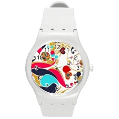 Retro Colorful Colors Splashes Round Plastic Sport Watch (m) by flipstylezdes