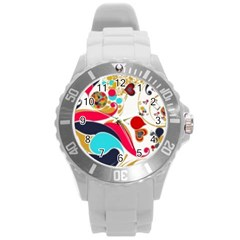 Retro Colorful Colors Splashes Round Plastic Sport Watch (l) by flipstylezdes