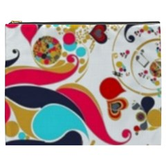 Retro Colorful Colors Splashes Cosmetic Bag (xxxl) by flipstylezdes