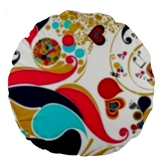 Retro Colorful Colors Splashes Large 18  Premium Round Cushions by flipstylezdes