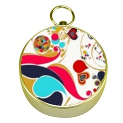 Retro Colorful Colors Splashes Gold Compasses by flipstylezdes