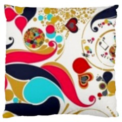 Retro Colorful Colors Splashes Large Flano Cushion Case (one Side) by flipstylezdes