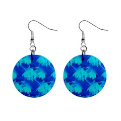 Coconut Palm Trees Ocean Blue 1  Button Earrings by CrypticFragmentsColors