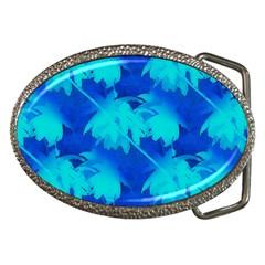 Coconut Palm Trees Ocean Blue Belt Buckle by CrypticFragmentsColors