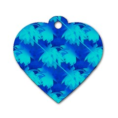 Coconut Palm Trees Ocean Blue Dog Tag Heart (one Side) by CrypticFragmentsColors
