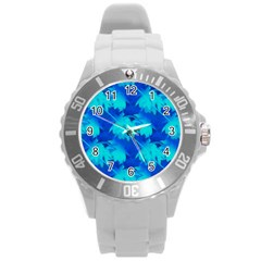 Coconut Palm Trees Ocean Blue Round Plastic Sport Watch (l) by CrypticFragmentsColors