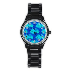 Coconut Palm Trees Ocean Blue Stainless Steel Round Watch by CrypticFragmentsColors