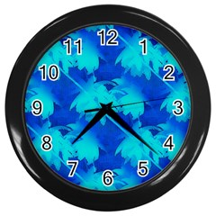 Coconut Palm Trees Ocean Blue Wall Clock (black) by CrypticFragmentsColors