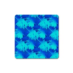 Coconut Palm Trees Ocean Blue Square Magnet by CrypticFragmentsColors