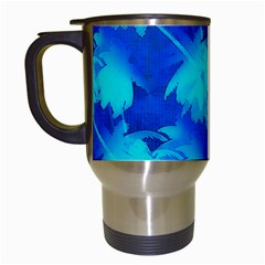 Coconut Palm Trees Ocean Blue Travel Mugs (white) by CrypticFragmentsColors