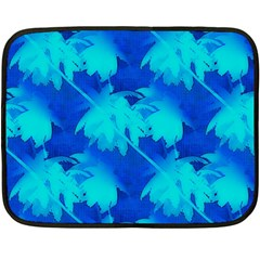 Coconut Palm Trees Ocean Blue Fleece Blanket (mini) by CrypticFragmentsColors