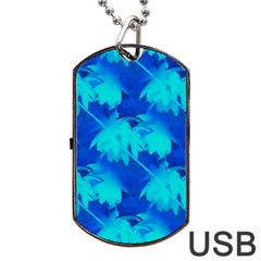 Coconut Palm Trees Ocean Blue Dog Tag Usb Flash (one Side) by CrypticFragmentsColors