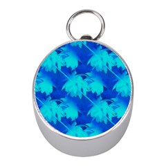 Coconut Palm Trees Ocean Blue Mini Silver Compasses by CrypticFragmentsColors
