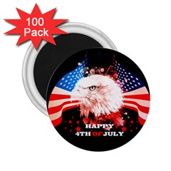 Independence Day, Eagle With Usa Flag 2 25  Magnets (100 Pack)  by FantasyWorld7
