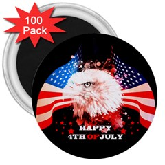 Independence Day, Eagle With Usa Flag 3  Magnets (100 Pack) by FantasyWorld7