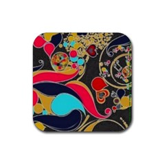 Retro Swirls In Black Rubber Square Coaster (4 Pack)  by flipstylezdes