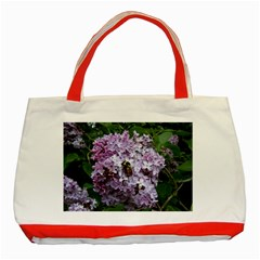 Lilac Bumble Bee Classic Tote Bag (red)