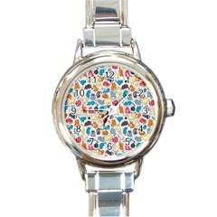 Funny Cute Colorful Cats Pattern Round Italian Charm Watch by EDDArt