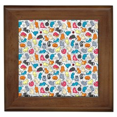 Funny Cute Colorful Cats Pattern Framed Tiles