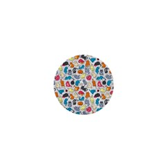 Funny Cute Colorful Cats Pattern 1  Mini Magnets