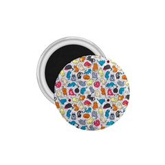 Funny Cute Colorful Cats Pattern 1 75  Magnets