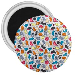 Funny Cute Colorful Cats Pattern 3  Magnets