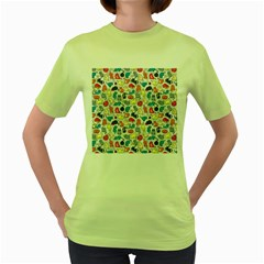 Funny Cute Colorful Cats Pattern Women s Green T Shirt