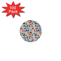 Funny Cute Colorful Cats Pattern 1  Mini Buttons (100 Pack)