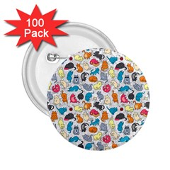 Funny Cute Colorful Cats Pattern 2 25  Buttons (100 Pack)