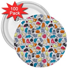 Funny Cute Colorful Cats Pattern 3  Buttons (100 Pack)