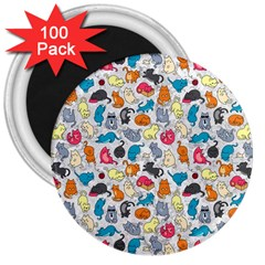 Funny Cute Colorful Cats Pattern 3  Magnets (100 Pack) by EDDArt